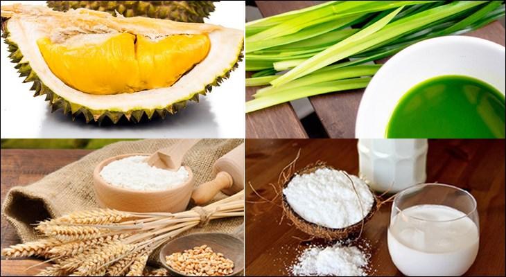 Nguyên liệu món ăn bánh crepe lá dứa nhân kem sầu riêng