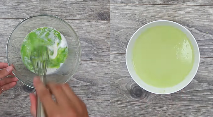 Bước 2 Trộn bột bánh Bánh Crepe lá dứa nhân kem sầu riêng