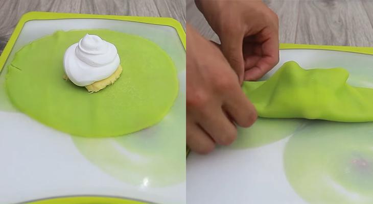 Bước 5 Cuộn bánh Bánh Crepe lá dứa nhân kem sầu riêng